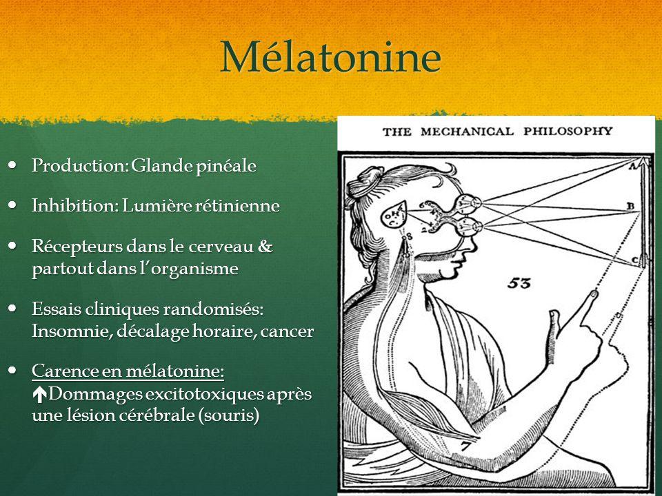 Mélatonine Production: Glande pinéale Production: Glande pinéale Inhibition: Lumière rétinienne Inhibition: Lumière rétinienne Récepteurs dans le cerv