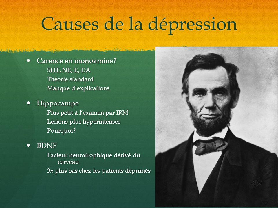 Causes de la dépression Carence en monoamine? Carence en monoamine? 5HT, NE, E, DA Théorie standard Manque dexplications Hippocampe Hippocampe Plus pe