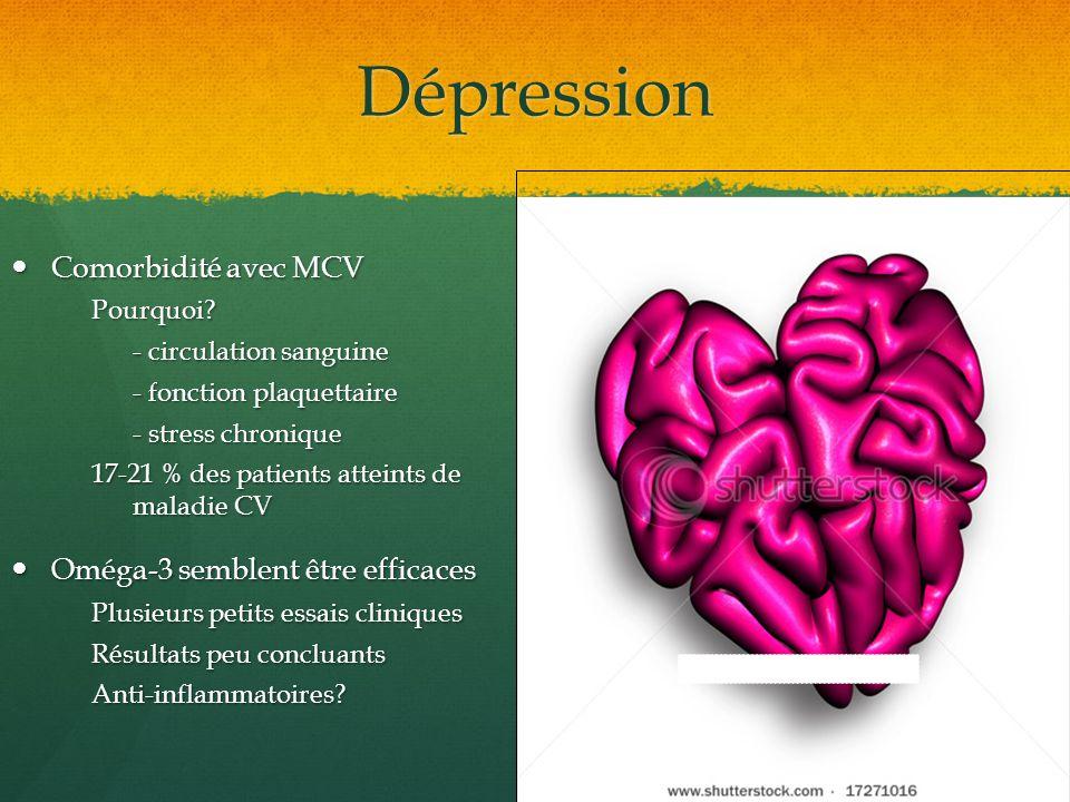 Dépression Comorbidité avec MCV Comorbidité avec MCVPourquoi? - circulation sanguine - fonction plaquettaire - stress chronique 17-21 % des patients a
