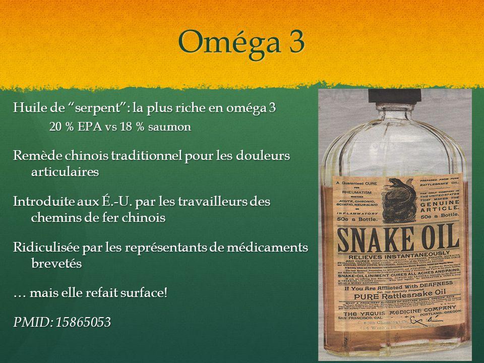 Oméga 3 Huile de serpent: la plus riche en oméga 3 20 % EPA vs 18 % saumon Remède chinois traditionnel pour les douleurs articulaires Introduite aux É