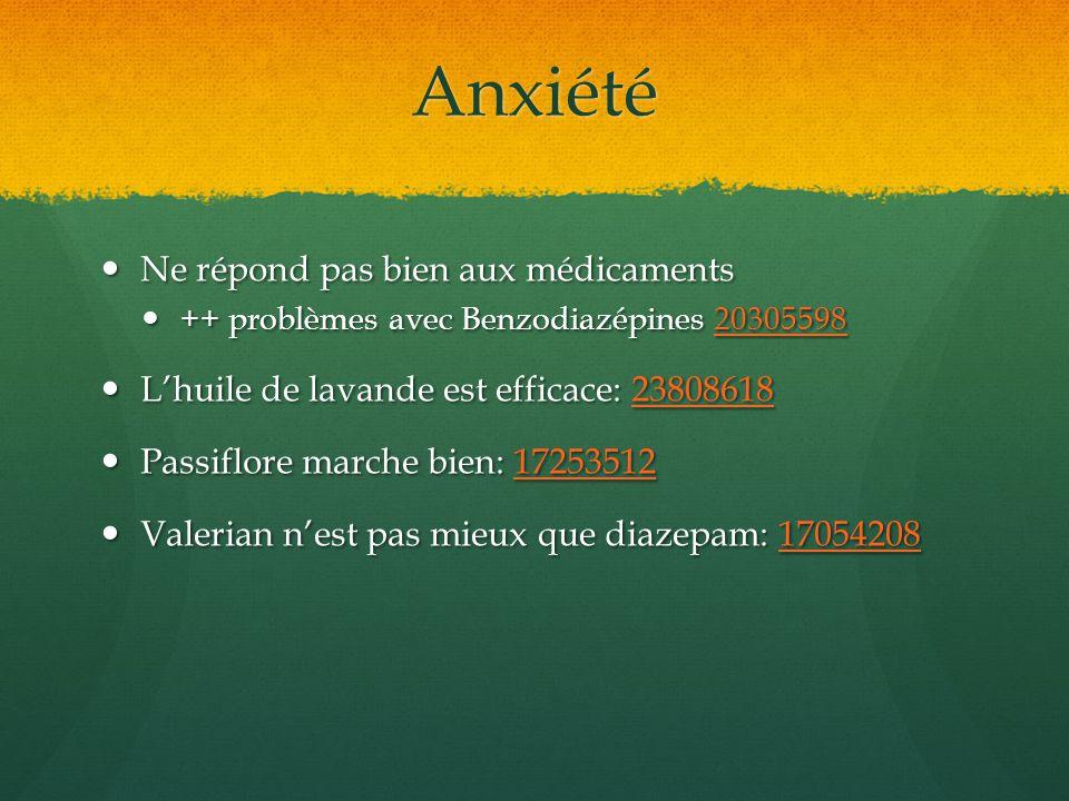 Anxiété Ne répond pas bien aux médicaments Ne répond pas bien aux médicaments ++ problèmes avec Benzodiazépines 20305598 ++ problèmes avec Benzodiazép