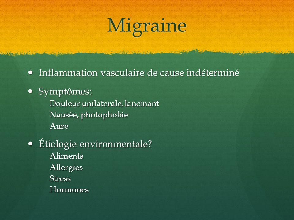 Migraine Inflammation vasculaire de cause indéterminé Inflammation vasculaire de cause indéterminé Symptômes: Symptômes: Douleur unilaterale, lancinan