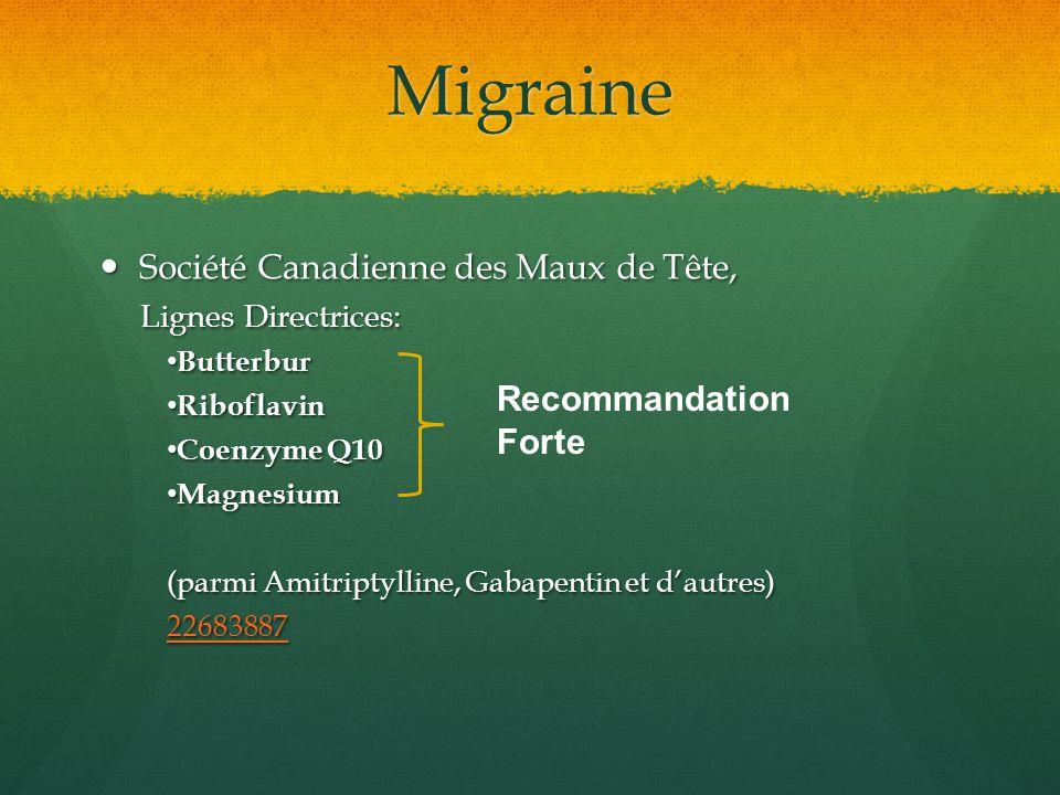 Migraine Société Canadienne des Maux de Tête, Société Canadienne des Maux de Tête, Lignes Directrices: Butterbur Butterbur Riboflavin Riboflavin Coenz