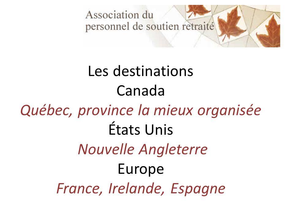 Les destinations Canada Québec, province la mieux organisée États Unis Nouvelle Angleterre Europe France, Irelande, Espagne