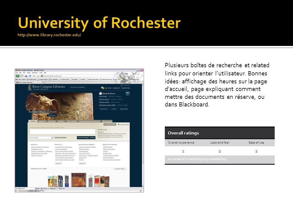 Plusieurs boîtes de recherche et related links pour orienter lutilisateur. Bonnes idées: affichage des heures sur la page d'accueil, page expliquant c