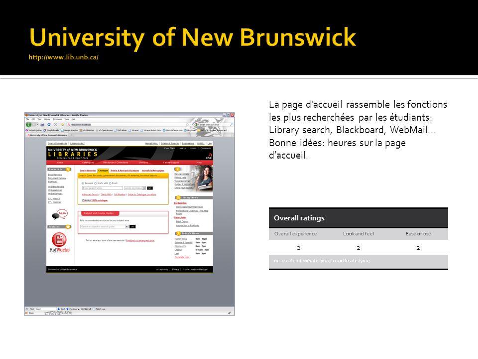 La page d'accueil rassemble les fonctions les plus recherchées par les étudiants: Library search, Blackboard, WebMail... Bonne idées: heures sur la pa