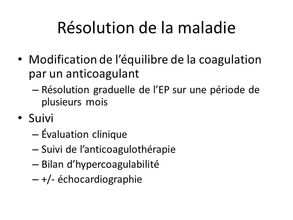 Résolution de la maladie Modification de léquilibre de la coagulation par un anticoagulant – Résolution graduelle de lEP sur une période de plusieurs