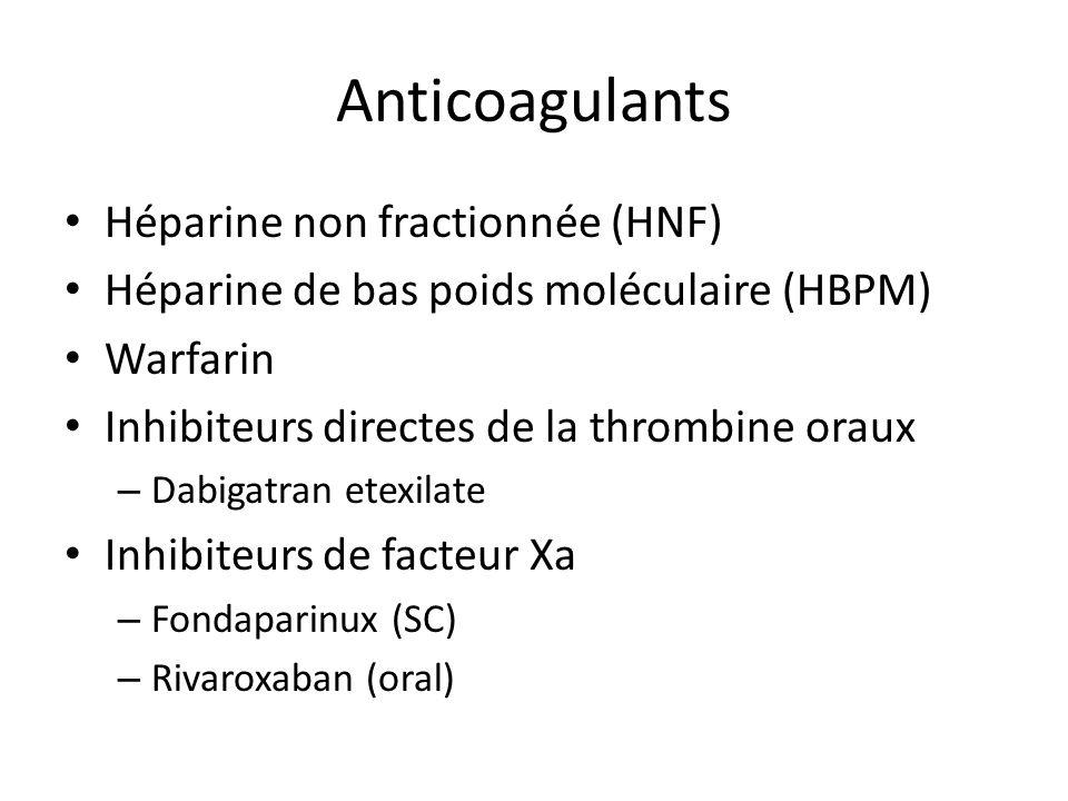 Anticoagulants Héparine non fractionnée (HNF) Héparine de bas poids moléculaire (HBPM) Warfarin Inhibiteurs directes de la thrombine oraux – Dabigatra