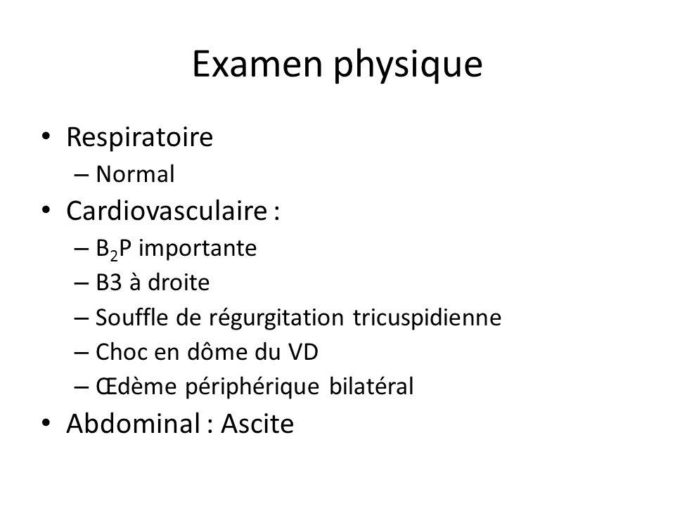 Examen physique Respiratoire – Normal Cardiovasculaire : – B 2 P importante – B3 à droite – Souffle de régurgitation tricuspidienne – Choc en dôme du