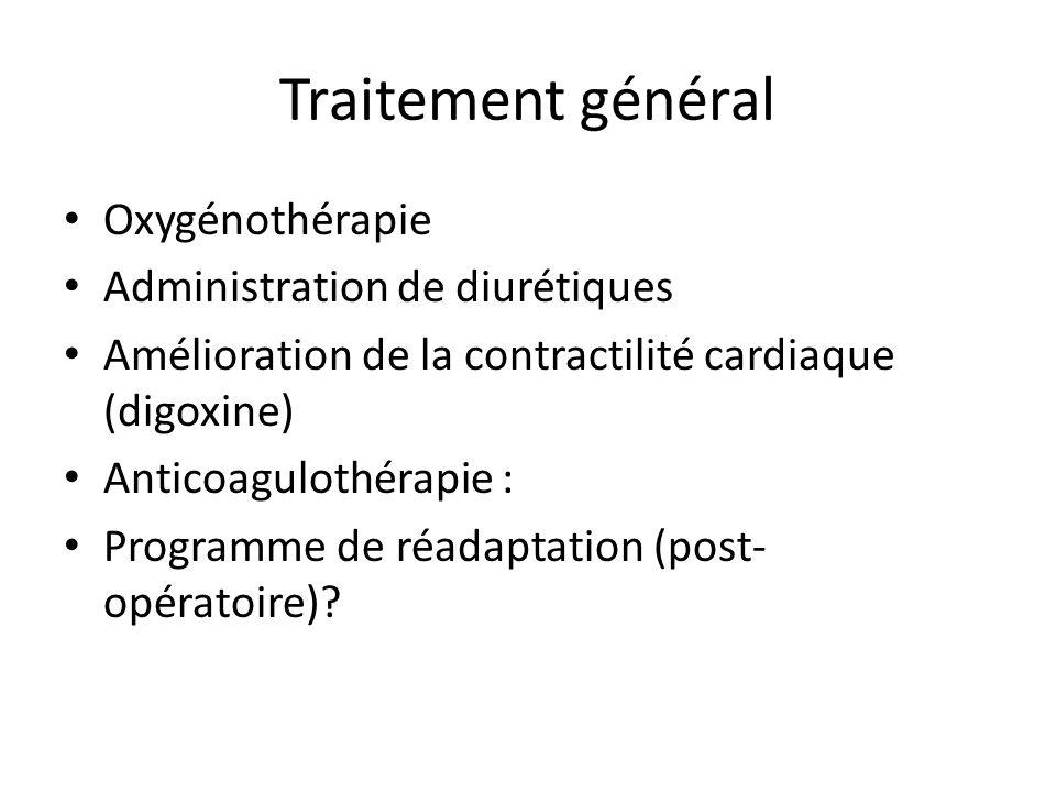 Traitement général Oxygénothérapie Administration de diurétiques Amélioration de la contractilité cardiaque (digoxine) Anticoagulothérapie : Programme