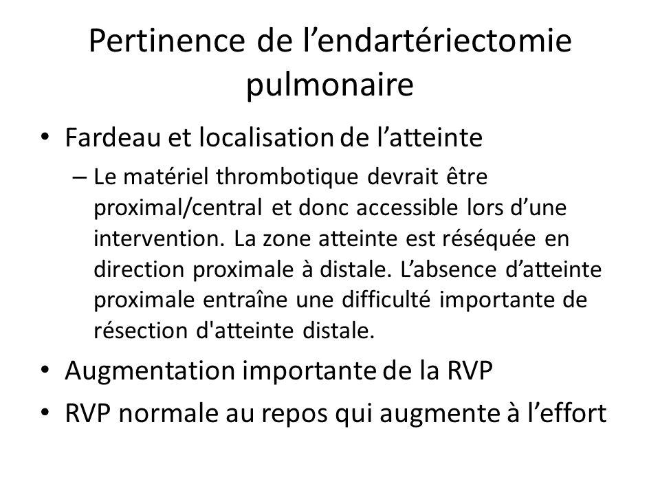 Pertinence de lendartériectomie pulmonaire Fardeau et localisation de latteinte – Le matériel thrombotique devrait être proximal/central et donc acces