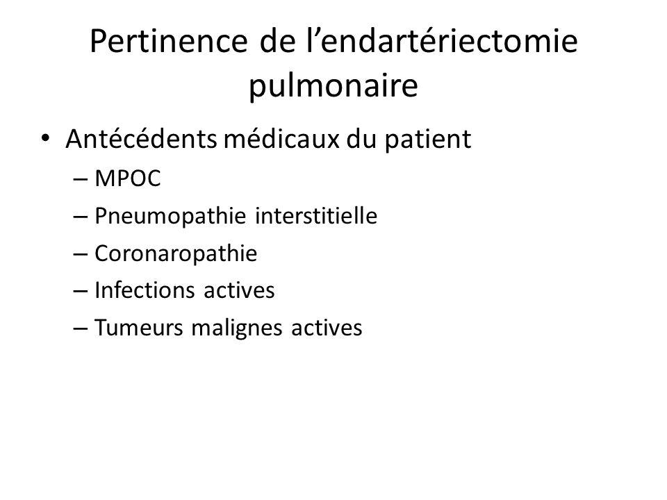Pertinence de lendartériectomie pulmonaire Antécédents médicaux du patient – MPOC – Pneumopathie interstitielle – Coronaropathie – Infections actives