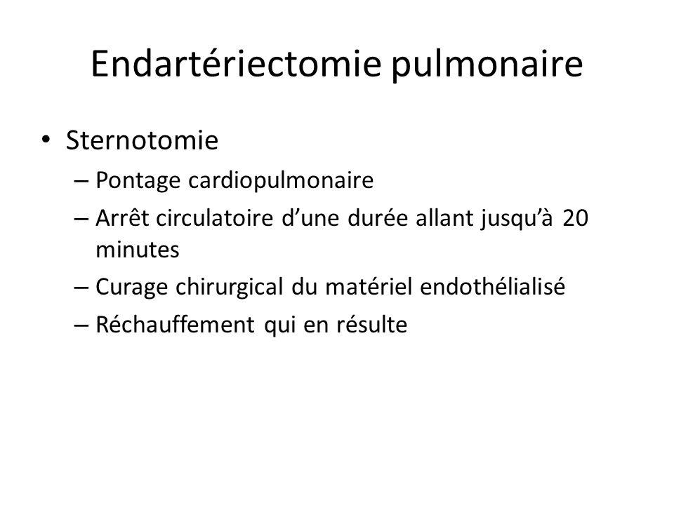 Endartériectomie pulmonaire Sternotomie – Pontage cardiopulmonaire – Arrêt circulatoire dune durée allant jusquà 20 minutes – Curage chirurgical du ma