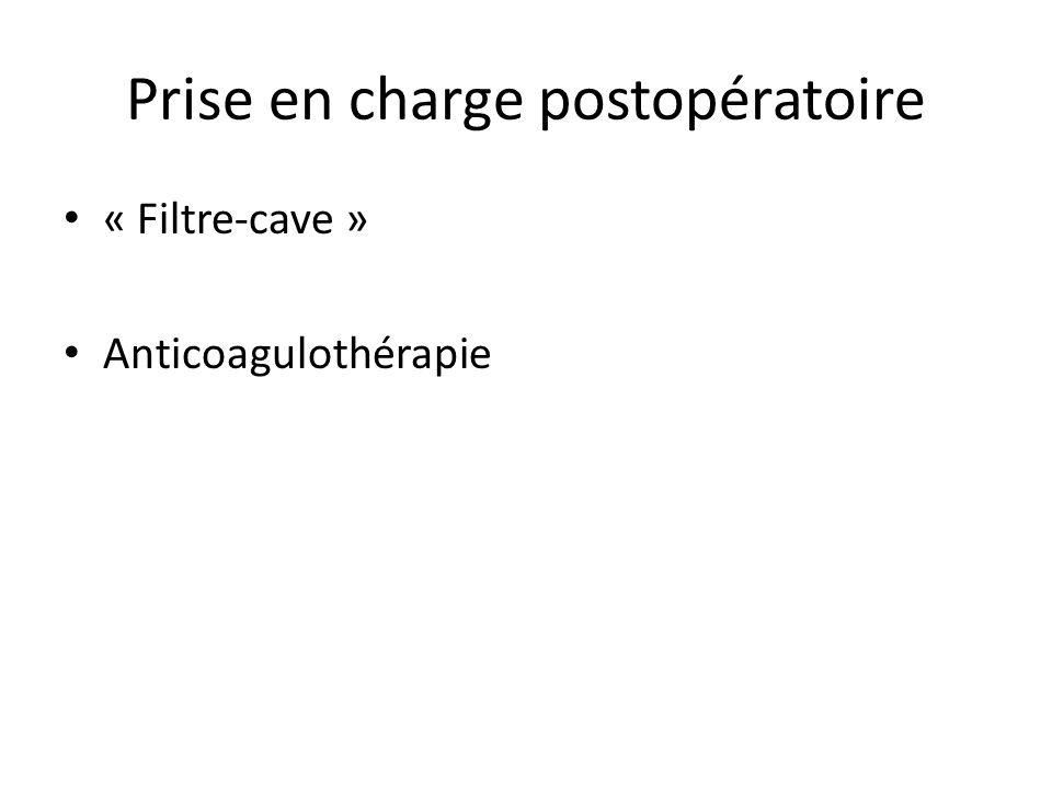 Prise en charge postopératoire « Filtre-cave » Anticoagulothérapie