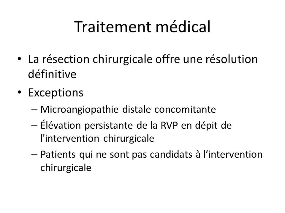 Traitement médical La résection chirurgicale offre une résolution définitive Exceptions – Microangiopathie distale concomitante – Élévation persistant