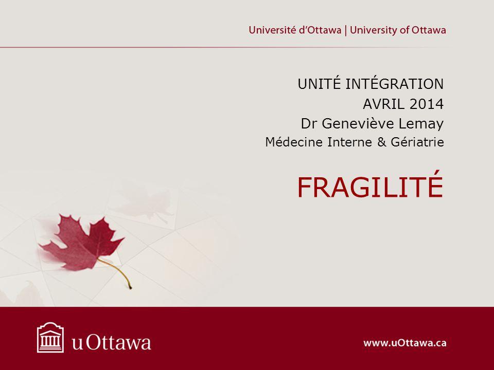FRAGILITÉ UNITÉ INTÉGRATION AVRIL 2014 Dr Geneviève Lemay Médecine Interne & Gériatrie