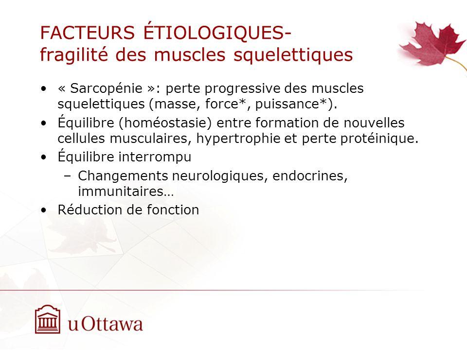 FACTEURS ÉTIOLOGIQUES- fragilité des muscles squelettiques « Sarcopénie »: perte progressive des muscles squelettiques (masse, force*, puissance*).