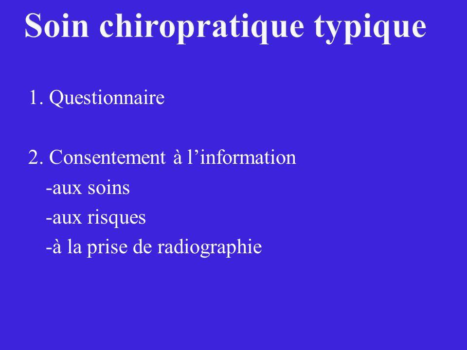 1. Questionnaire 2. Consentement à linformation -aux soins -aux risques -à la prise de radiographie