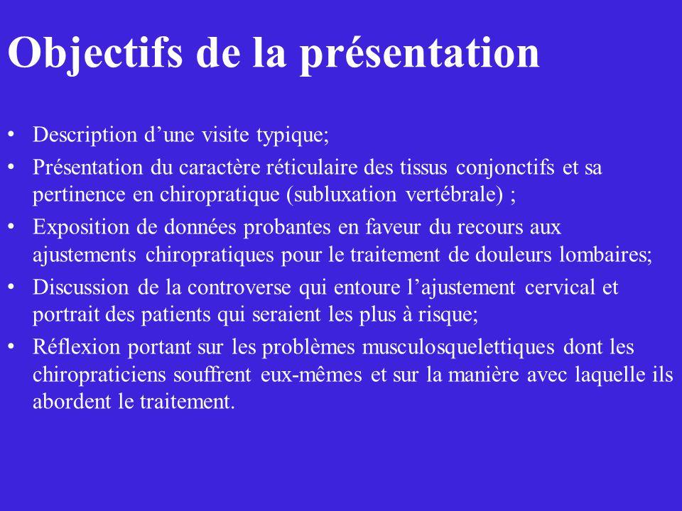Description dune visite typique; Présentation du caractère réticulaire des tissus conjonctifs et sa pertinence en chiropratique (subluxation vertébral