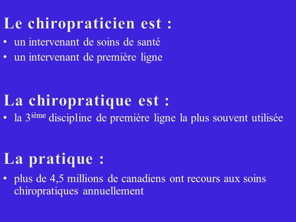 un intervenant de soins de santé un intervenant de première ligne la 3 ième discipline de première ligne la plus souvent utilisée plus de 4,5 millions de canadiens ont recours aux soins chiropratiques annuellement