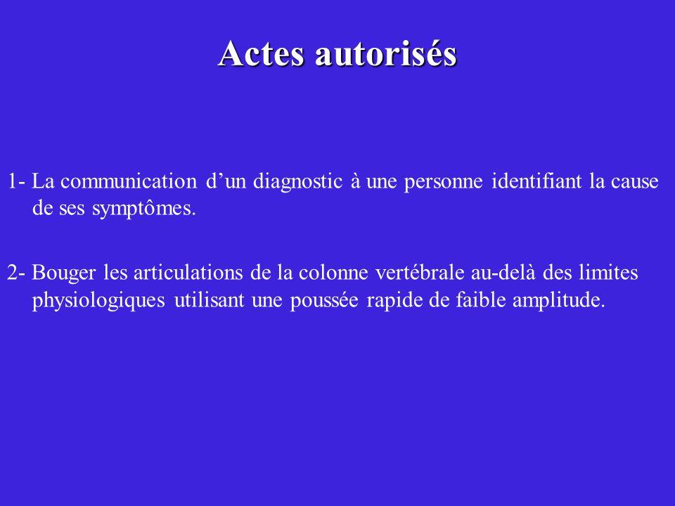 1- La communication dun diagnostic à une personne identifiant la cause de ses symptômes. 2- Bouger les articulations de la colonne vertébrale au-delà