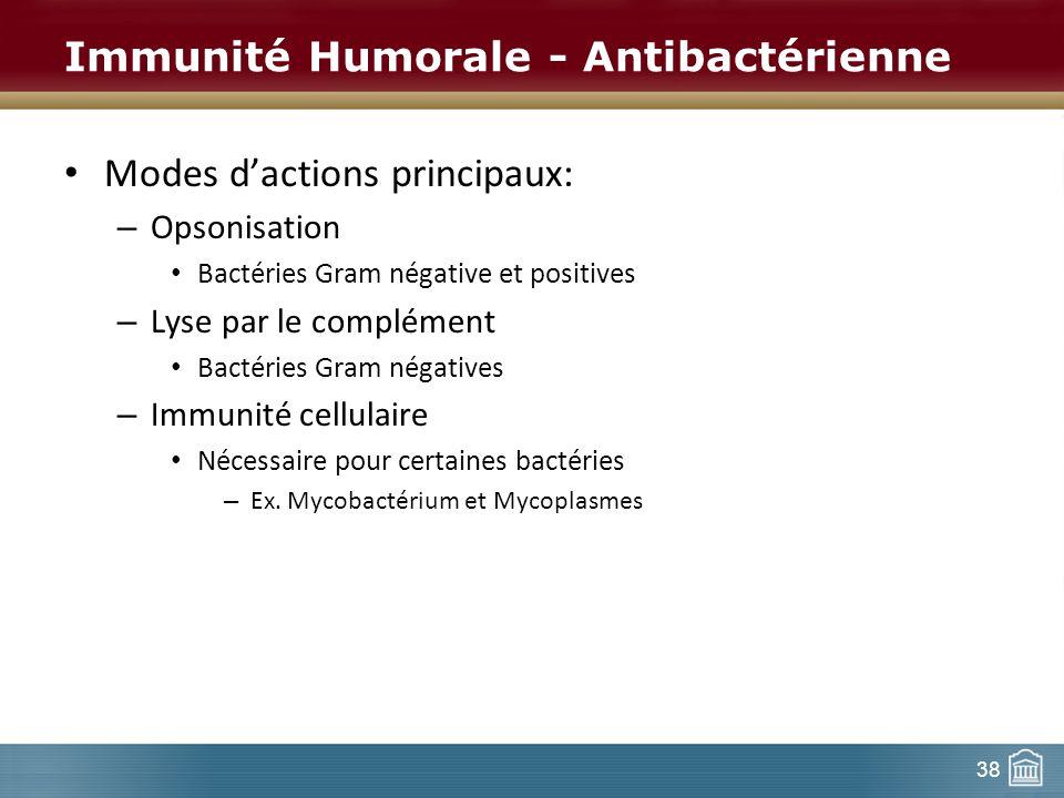 38 Immunité Humorale - Antibactérienne Modes dactions principaux: – Opsonisation Bactéries Gram négative et positives – Lyse par le complément Bactéri