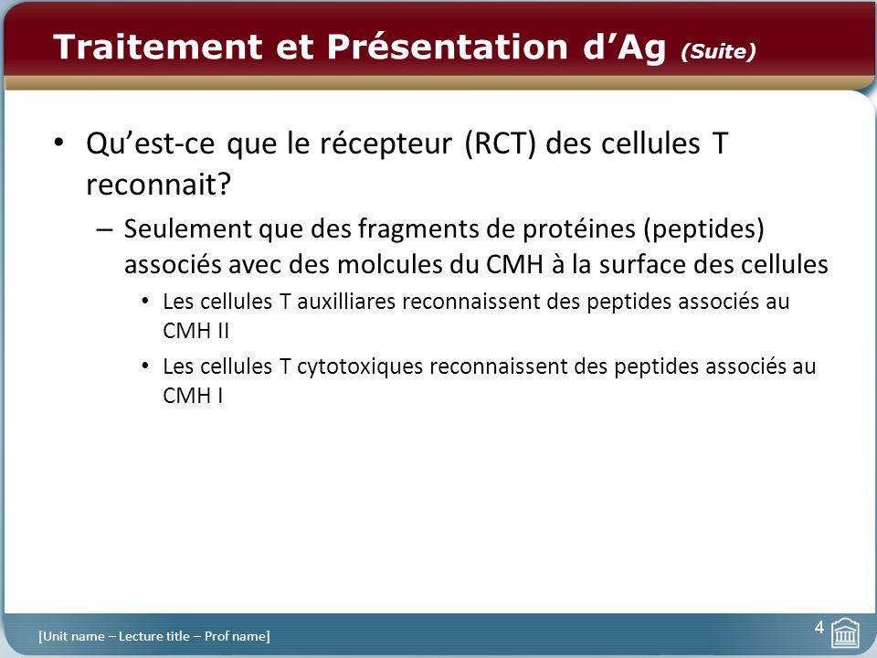 Traitement et Présentation dAg (Suite) Quest-ce que le récepteur (RCT) des cellules T reconnait? – Seulement que des fragments de protéines (peptides)