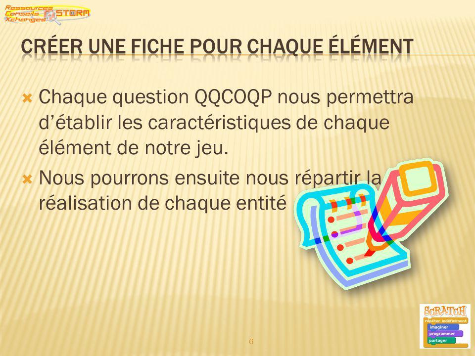 Chaque question QQCOQP nous permettra détablir les caractéristiques de chaque élément de notre jeu. Nous pourrons ensuite nous répartir la réalisation