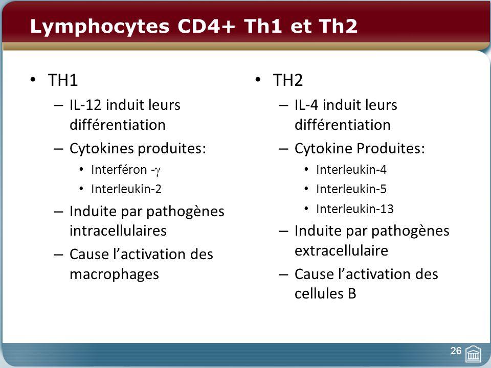 Lymphocytes CD4+ Th1 et Th2 TH1 – IL-12 induit leurs différentiation – Cytokines produites: Interféron - Interleukin-2 – Induite par pathogènes intracellulaires – Cause lactivation des macrophages TH2 – IL-4 induit leurs différentiation – Cytokine Produites: Interleukin-4 Interleukin-5 Interleukin-13 – Induite par pathogènes extracellulaire – Cause lactivation des cellules B 26