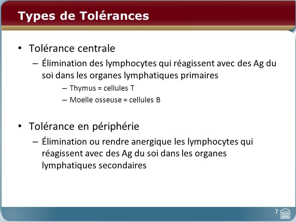 Types de Tolérances Tolérance centrale – Élimination des lymphocytes qui réagissent avec des Ag du soi dans les organes lymphatiques primaires – Thymus = cellules T – Moelle osseuse = cellules B Tolérance en périphérie – Élimination ou rendre anergique les lymphocytes qui réagissent avec des Ag du soi dans les organes lymphatiques secondaires 7