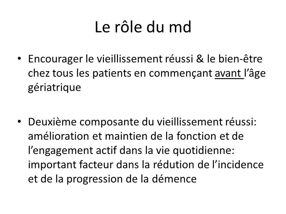 Le rôle du md Encourager le vieillissement réussi & le bien-être chez tous les patients en commençant avant lâge gériatrique Deuxième composante du vi