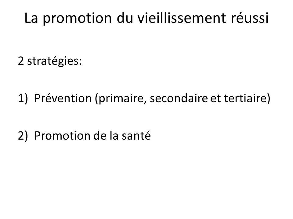 La promotion du vieillissement réussi 2 stratégies: 1)Prévention (primaire, secondaire et tertiaire) 2)Promotion de la santé