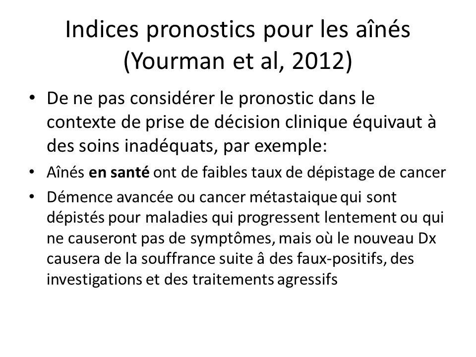 Indices pronostics pour les aînés (Yourman et al, 2012) De ne pas considérer le pronostic dans le contexte de prise de décision clinique équivaut à de