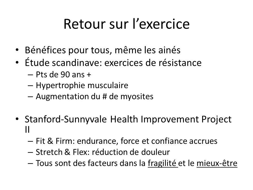 Retour sur lexercice Bénéfices pour tous, même les ainés Étude scandinave: exercices de résistance – Pts de 90 ans + – Hypertrophie musculaire – Augme