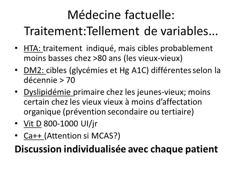 Médecine factuelle: Traitement:Tellement de variables... HTA: traitement indiqué, mais cibles probablement moins basses chez >80 ans (les vieux-vieux)