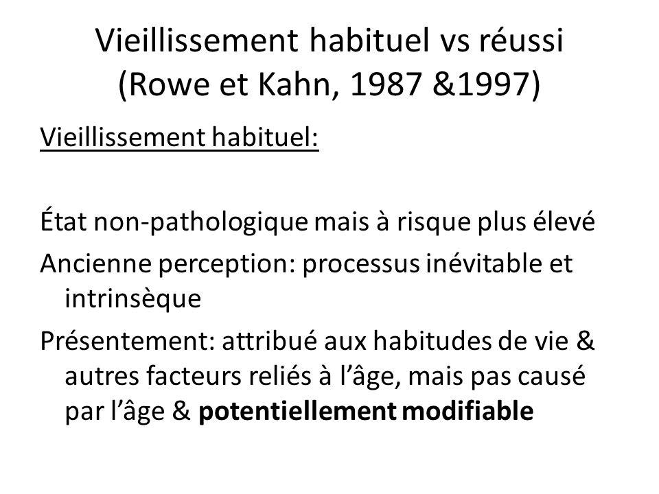 Vieillissement habituel vs réussi (Rowe et Kahn, 1987 &1997) Vieillissement habituel: État non-pathologique mais à risque plus élevé Ancienne perception: processus inévitable et intrinsèque Présentement: attribué aux habitudes de vie & autres facteurs reliés à lâge, mais pas causé par lâge & potentiellement modifiable