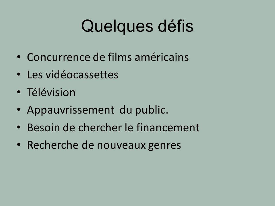 Quelques défis Concurrence de films américains Les vidéocassettes Télévision Appauvrissement du public. Besoin de chercher le financement Recherche de
