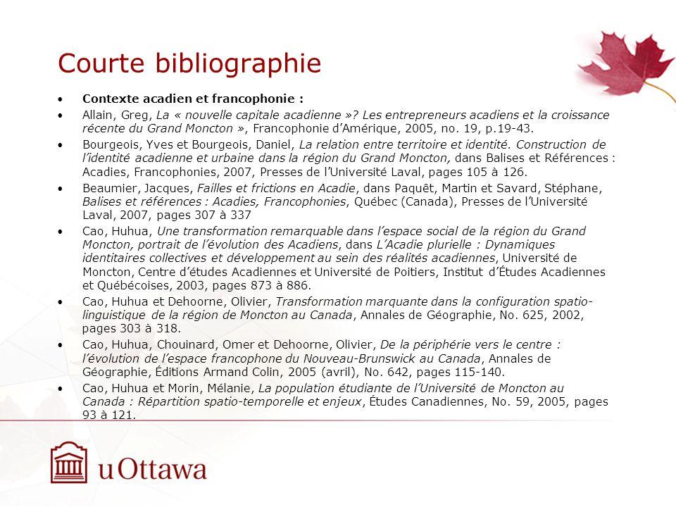 Courte bibliographie Contexte acadien et francophonie : Allain, Greg, La « nouvelle capitale acadienne ».