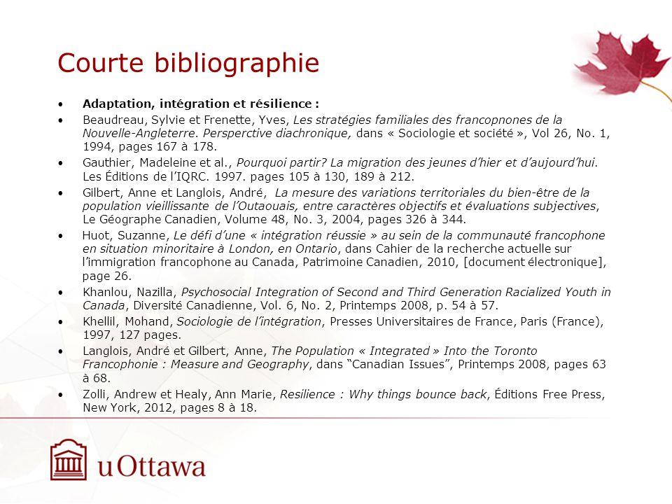 Courte bibliographie Adaptation, intégration et résilience : Beaudreau, Sylvie et Frenette, Yves, Les stratégies familiales des francopnones de la Nouvelle-Angleterre.