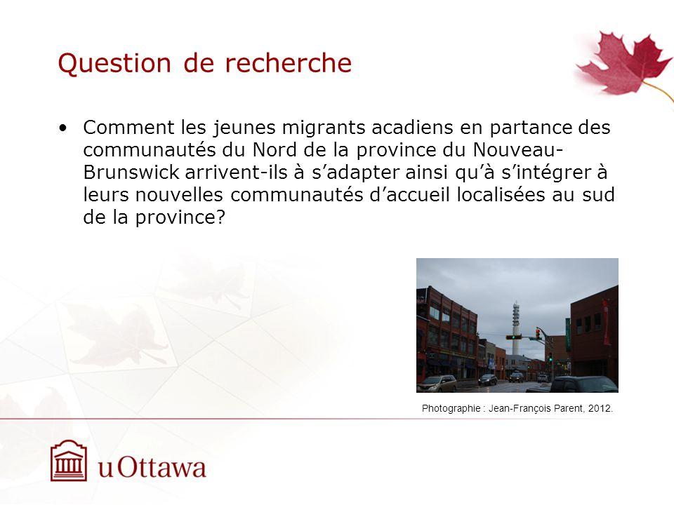 Question de recherche Comment les jeunes migrants acadiens en partance des communautés du Nord de la province du Nouveau- Brunswick arrivent-ils à sadapter ainsi quà sintégrer à leurs nouvelles communautés daccueil localisées au sud de la province.