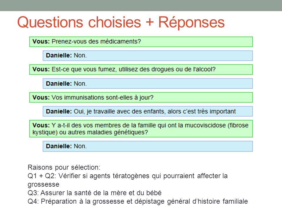 Questions choisies + Réponses Raisons pour sélection: Q1 + Q2: Vérifier si agents tératogènes qui pourraient affecter la grossesse Q3: Assurer la sant