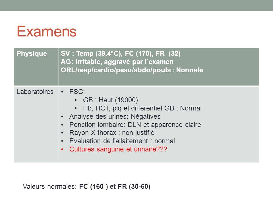 Examens PhysiqueSV : Temp (39.4°C), FC (170), FR (32) AG: Irritable, aggravé par lexamen ORL/resp/cardio/peau/abdo/pouls : Normale LaboratoiresFSC: GB