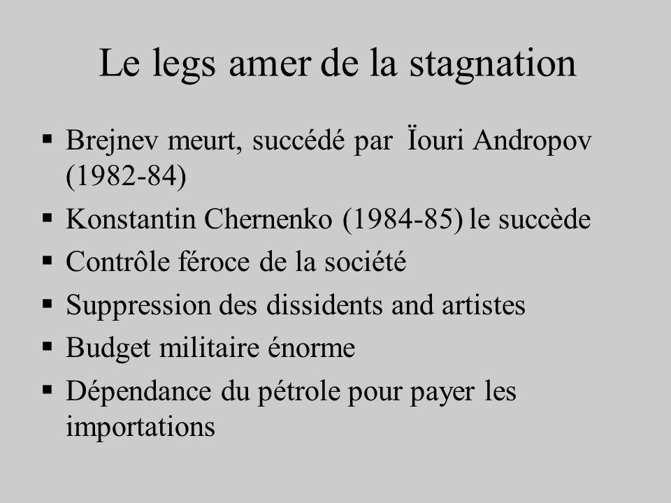 Le legs amer de la stagnation Brejnev meurt, succédé par Ïouri Andropov (1982-84) Konstantin Chernenko (1984-85) le succède Contrôle féroce de la soci