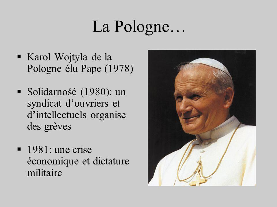 La Pologne… Karol Wojtyla de la Pologne élu Pape (1978) Solidarność (1980): un syndicat douvriers et dintellectuels organise des grèves 1981: une cris
