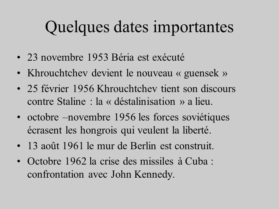 Quelques dates importantes 23 novembre 1953 Béria est exécuté Khrouchtchev devient le nouveau « guensek » 25 février 1956 Khrouchtchev tient son disco