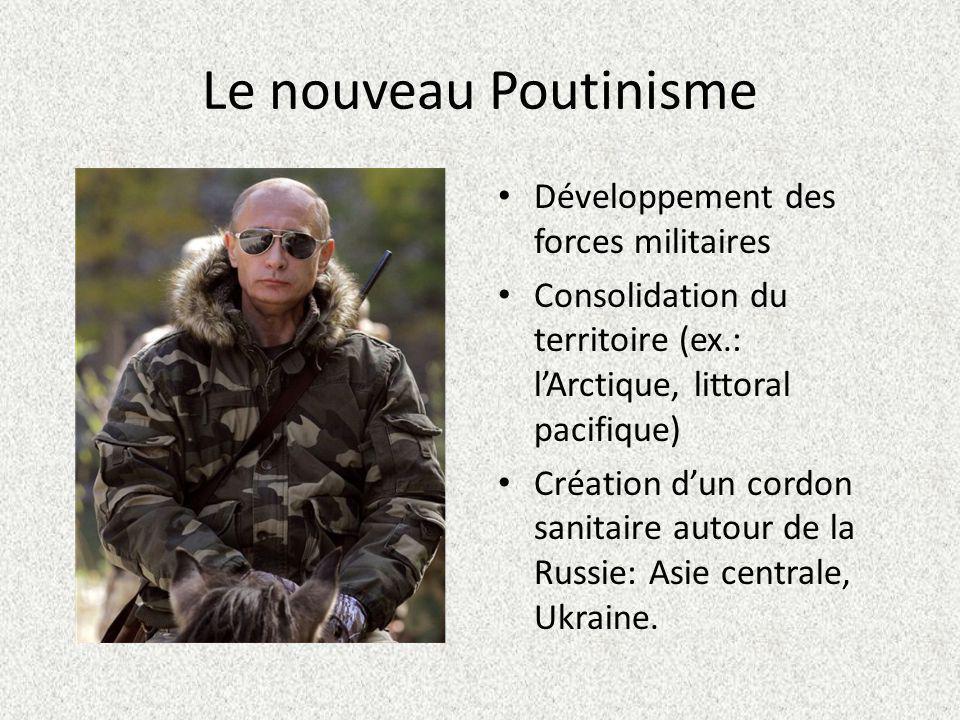 Le nouveau Poutinisme Développement des forces militaires Consolidation du territoire (ex.: lArctique, littoral pacifique) Création dun cordon sanitaire autour de la Russie: Asie centrale, Ukraine.
