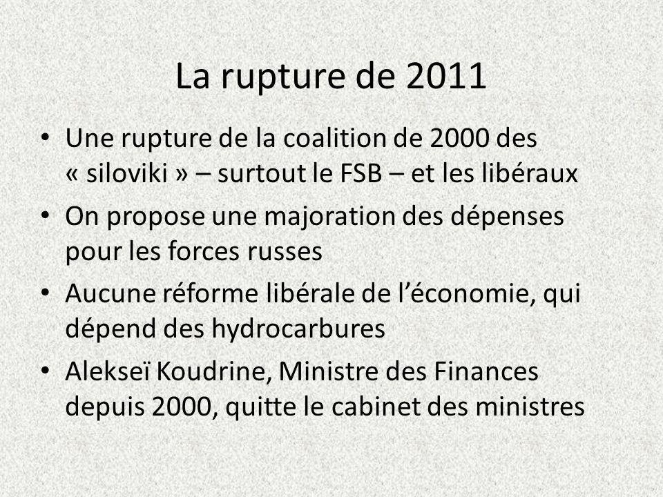 La rupture de 2011 Une rupture de la coalition de 2000 des « siloviki » – surtout le FSB – et les libéraux On propose une majoration des dépenses pour les forces russes Aucune réforme libérale de léconomie, qui dépend des hydrocarbures Alekseï Koudrine, Ministre des Finances depuis 2000, quitte le cabinet des ministres