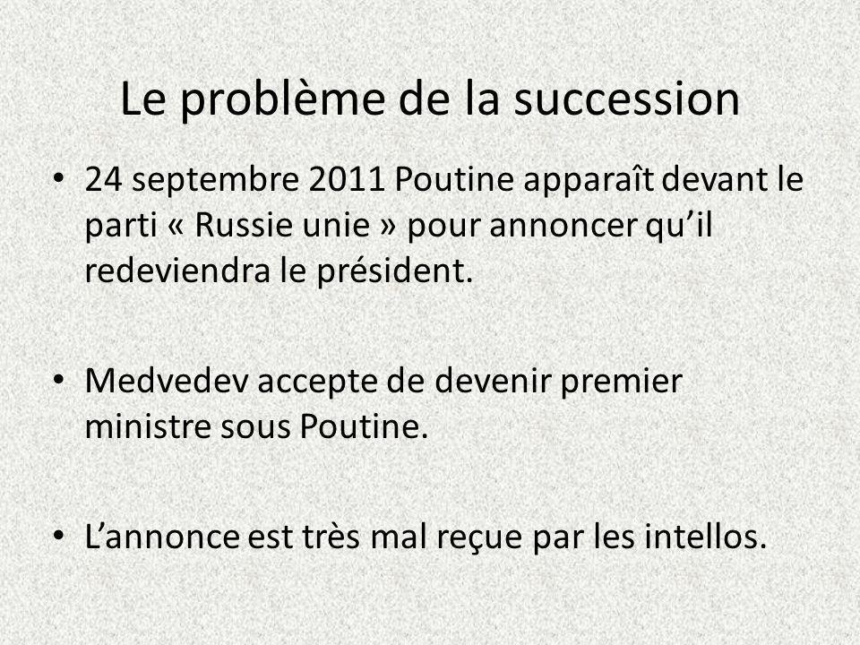 Le problème de la succession 24 septembre 2011 Poutine apparaît devant le parti « Russie unie » pour annoncer quil redeviendra le président.