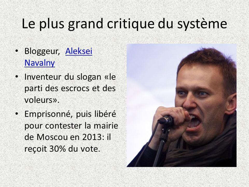 Le plus grand critique du système Bloggeur, Aleksei NavalnyAleksei Navalny Inventeur du slogan «le parti des escrocs et des voleurs».