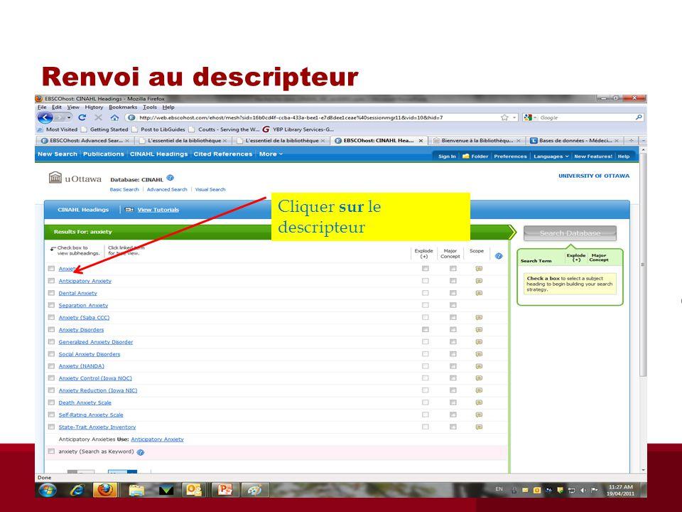 Renvoi au descripteur (« mapping ») Cliquer sur le descripteur